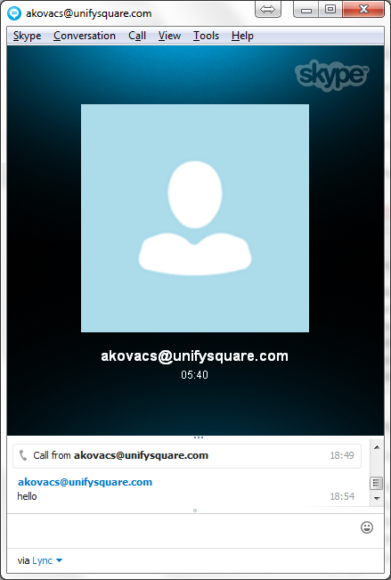 Skype conversation window while having a Skype - Lync call.